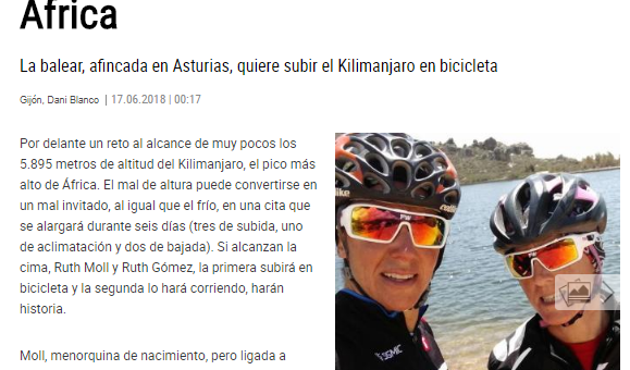 Ruth Moll, de Siero al techo de África en el periódico La Nueva España